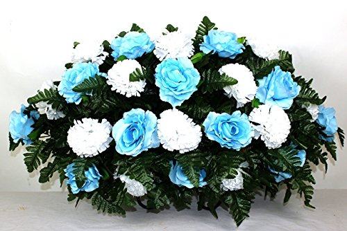 XL Beautiful Baby Blue Roses and White Carnations Cemetery Tombstone Saddle Arrangement