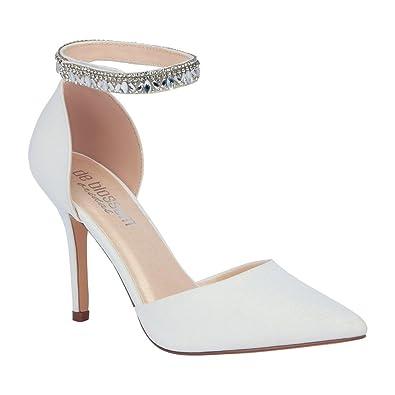 99ab9766b Amazon.com | de blossom bridal Women's White Pointed Toe Wedding Pump  Rhinestone Encrusted Ankle Strap | Pumps