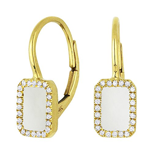 Mother-Of-Pearl Gemstone & Accented Diamond Dangle-Earring Set In 14K Yellow-Gold by Eros' Iced Showroom