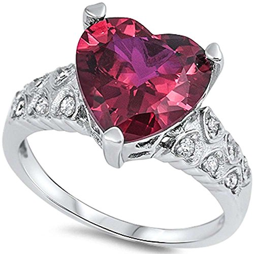 Heart Shape Simulated Ruby & Cz .925 Sterling Silver Ring Size 11 (Diamond Heart Ruby Ring)