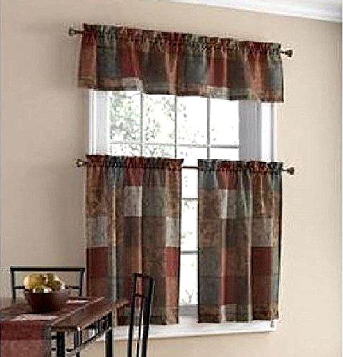 tuscany kitchen window curtain set 3 pc - Maroon Kitchen Decor