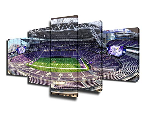 nnesota Vikings Pictures for Living Room US Bank Stadium in Minneapolis Paintings 5 Piece Canvas Wall Art Home Decorations Artwork Framed Stretched Ready to Hang(50''Wx24''H) ()