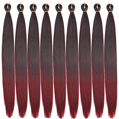Burgundy Synthetic Fiber - Ombre Pre-Stretched Braiding Hair 8 Pcs/Lot 24 inch Crochet Braiding hair Free Perm Yaki Straight Low Temperature Synthetic Fiber Braiding Hair (24
