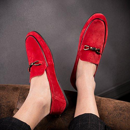 LYZGF Hommes, Été, Casual, Mode, Fainéant, Au Volant, Jeunesse, Chaussures en Cuir Red