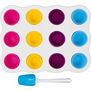 Amazon.com: Uno Casa Muffin Pan for Baking Cupcakes - Ceramic - with