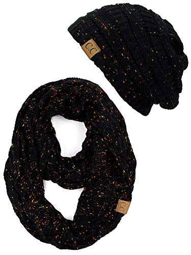 17202c797cd C.C Soft Stretch Colorful Confetti Cable Knit Beanie and Infinity Loop Scarf  Set