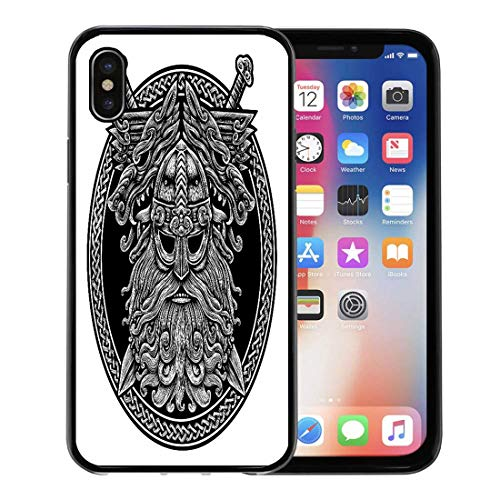 Semtomn Phone Case for Apple iPhone Xs case,Circle Norse God Odin Wolf and Swords Graphic in The Ring Celtic Viking Warrior Tattoo for iPhone X Case,Rubber Border Protective Case,Black