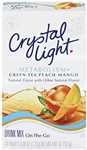 Crystal Light On The Go Metabolism Plus Green Tea Peach Mango, 10-Count Boxes (Pack of 2)