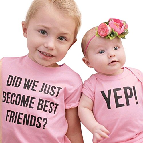 Cenhope Twins Baby Sisters Clothes Letter Print Short Sleeve T Shirt Romper Onsies (Pink(Little Sister), 0-3M)
