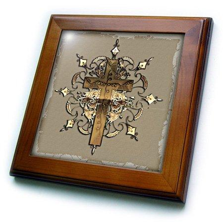 3dRose ft_54377_1 Bronze Decorated Cross Framed Tile, 8 by 8-Inch (Cross Framed Tile)