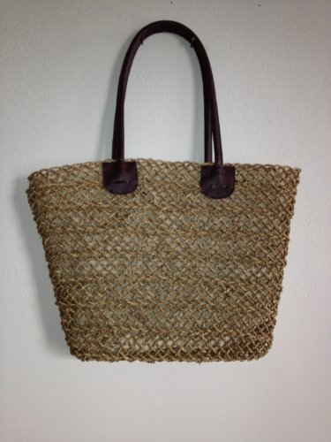 (LadyBagsSF Straw Shopping Tote Bag with Leather Handles)