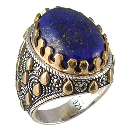 Natural Blue Lapis Inlay Ring - Natural Lapis Lazuli Lazord Stone Solid 925 Sterling Silver Special Design Turkish Handmade Men's Ring (11.75)