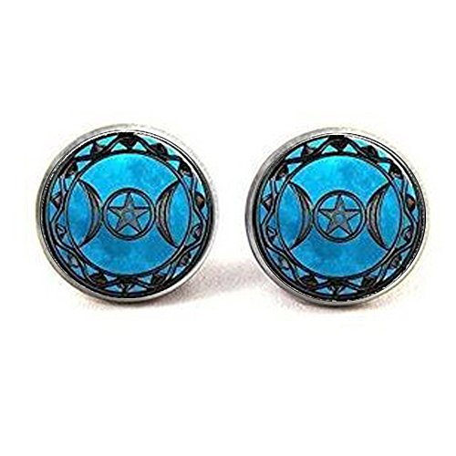 Goddess Locket - stap Triple Moon Goddess Pendant Earrings Triple Moon Goddess Earrings Locket Triple Moon Goddess Jewelry Earrings Triple Moon Goddess Charm, Silver