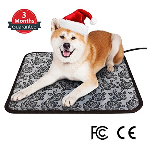 Pet Heating Pad, Electric Dog & Cat Warming Mat Cushion for Bed & Floor, Waterproof & Chew Resistant for Extra Safety, Adjustable Heat Settings & Overheat Protection