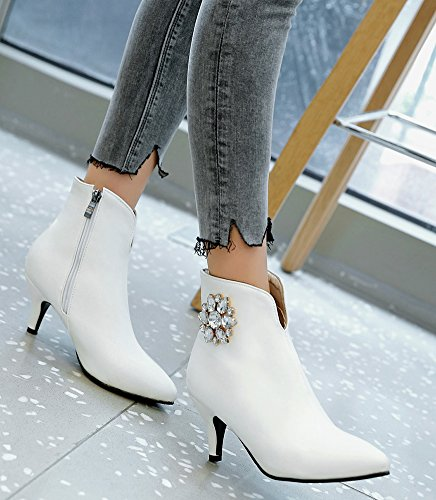 Heels kitten Pointy Fall Booties White Ankle Rhinestones Women's Chic Aisun IXqSgS