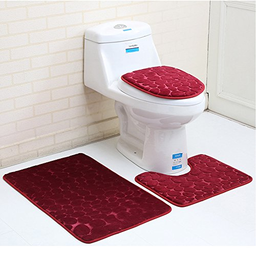 Eleoption Bath Mat Sets for Bathroom, Non Slip 3 Piece Bathroom Rug Set, Lid Toilet Cover and Contour Mat Backside with Non-Slip Pedestal, Extra Soft with Large Memory Foam (Red) by Eleoption