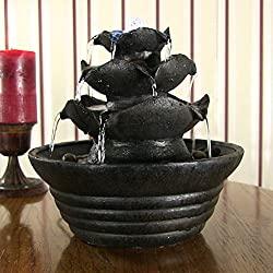 Sunnydaze Black Three Tier Cascading Tabletop Fountain w/ LED Lights, 9 Inch Tall