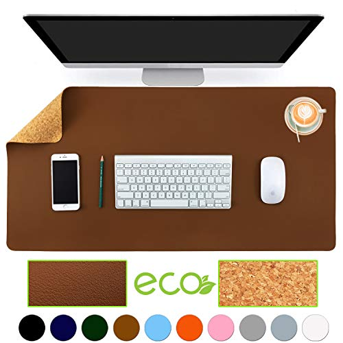 """Aothia Eco-Friendly Natural Cork & Leather Double-Sided Office Desk Mat 31.5"""" x 15.7"""" Mouse Pad Smooth Surface Soft Easy Clean Waterproof PU Leather Desk Protector for Office/Home Gaming (Brown)"""