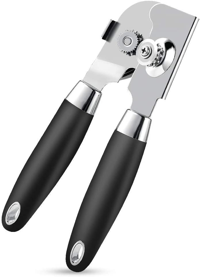 Can Opener Manual, Food Grade Stainless Steel Heavy Duty Opener with Smooth Edge, Ergonomic with Soft Grips Handle Anti-slip Hand Grip, Safe and Efficient Opening, Handy Can Opener, Mysterious Black