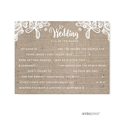 Andaz Press Burlap Lace Wedding Collection, Wedding Reception Fill in the Blanks Game Cards, 20-Pack -