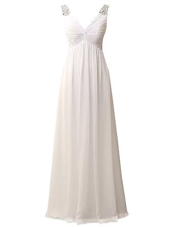 9d7373ba28e JAEDEN Beach Wedding Dresses for Bride Chiffon Bridal Gown Simple Ivory US2