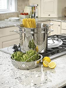77-412 Chef's Classic Stainless 4-Piece 12-Quart Pasta/Steamer Set