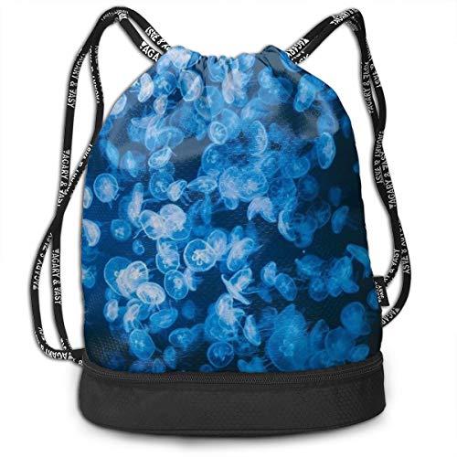 Men & Women Premium Polyester Drawstring Bag Deep Sea Jellyfish Blue Rucksack Theft Proof Lightweight For Swim Soccer Baseball Bag Large Size For Camping, Yoga Runner ()
