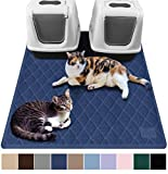 Gorilla Grip Original Premium Durable Multiple Cat Litter Mat (47x35), XL Jumbo, No Phthalate, Water Resistant, Traps Litter from Box and Cats, Scatter Control, Mats Soft on Kitty Paws (Navy)