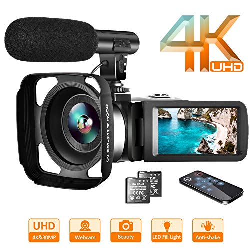 Video Camera 4K Camcorder Vlogging Camera Recorder with Microphone 30MP 3″ LCD Webcam Function Touch Screen 18X Digital Zoom YouTube Camera with Remote Control