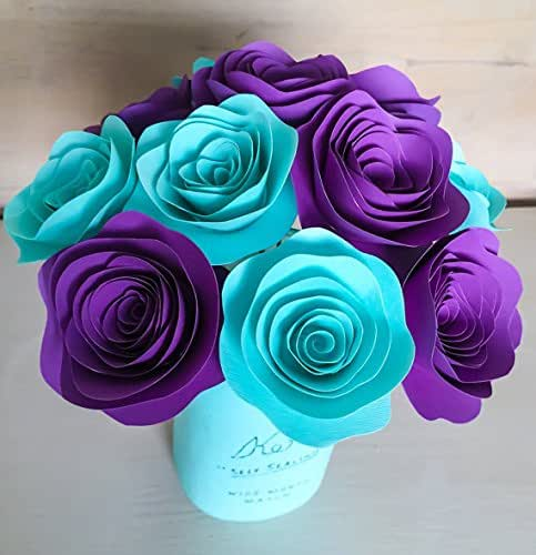 12 paper flowers scalloped stemmed purple for Decorate with flowers amazon