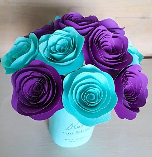 Amazon.com: 12 Paper Flowers Scalloped - Stemmed - Purple - Aqua ...