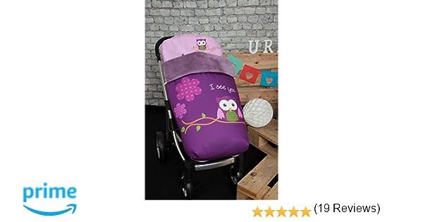 Babyline 002000526 - Saco para silla de paseo, diseño búho, color morado: Amazon.es: Bebé