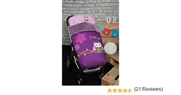 Babyline 002000526 - Saco para silla de paseo, diseño búho, color morado