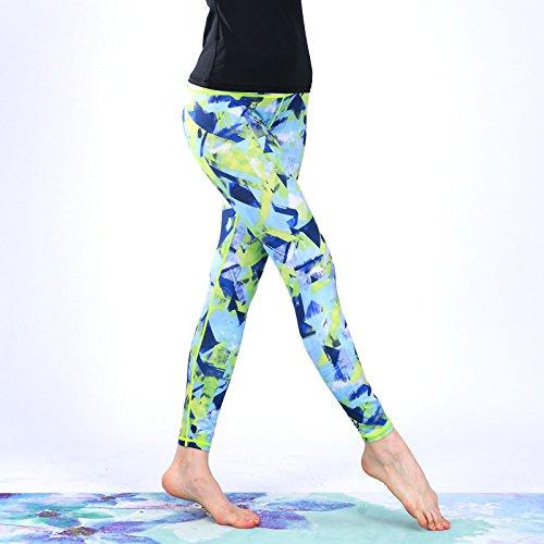 Vert géométrique JIALELE Pantalon De Yoga Pantalons Serrés Pantalon Yoga De Timbres à Courir en Plein Air XL