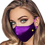 Organic Mulberry Silk Face Mask - Luxurious 100% Silk Masks for Women; Silk Mask with Filter Pocket | Adjustable Nose Wire by THREE PEBBLES (Color: Violet/Purple, Tamaño: Medium)