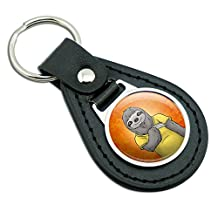 Portrait of a Sloth Black Leather Metal Keychain Key Ring