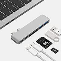USB C HUB, Lingwei USB C to Multi Ports Adapter with 40Gbs Thunderbolt 3/ Pass-Through Charging(Type C) /2×Usb 3.0 ports /1×SD and 1×Miro SD Card Slots Type c pro Hub for Macbook Pro 2016