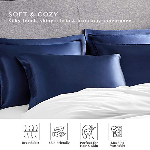 Hansleep 4-Pack Silky Satin Pillowcase Pillowsham, Soft Pillowcase for Hair and Skin, Wrinkle, Fade Resistant (2X Pillowcase, 2X pillowsham) - Navy Blue, 20x30