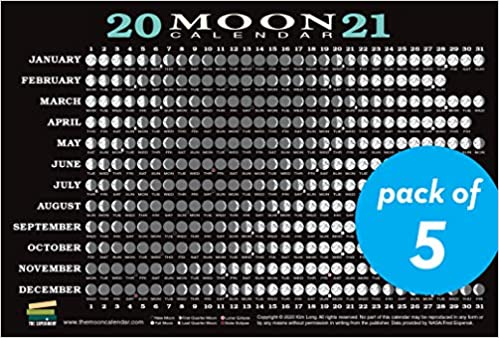 Lunar Calendar May 2021 2021 Moon Calendar Card (5 pack): Lunar Phases, Eclipses, and More