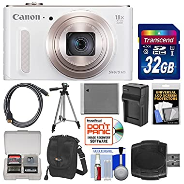 Canon PowerShot SX610 HS Wi-Fi Digital Camera (White) with 32GB Card + Case + Battery & Charger + Tripod + HDMI Cable + Kit