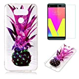 For LG G6 Case with Pattern Purple Pineapple,OYIME Glitter Bling Design Ultra Thin Slim Fit Protective Back Cover Soft Silicone Rubber Shell Drop Protection Anti-Scratch Transparent Bumper and Screen Protector