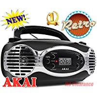Akai CD/FM Portable Boombox CE2200B Retro Style Limited Edition FM PLL Radio with LCD Display + Line in - Black