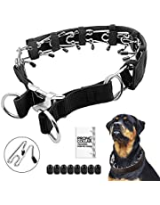 """Prong Dog Training Collar with Protector, 4.0 mm x 23.6"""", Steel Chrome Plated Dog Prong Collar, Pinch Collar for Dogs"""
