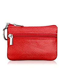 DukeTea Small Leather Zipper Change Purse Coin Wallet with Keychain
