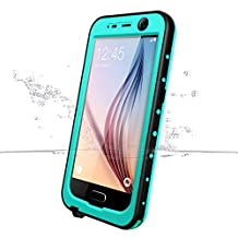 Galaxy S6 Waterproof Case, iThrough Waterproof, Dust Snow Shock Proof Case with Touched Transparent Screen Protector, Heavy Duty Protective Carrying Cover Case for Galaxy S6 (Blue)