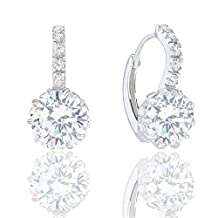 18k Gold Plated Solitaire Cubic Zirconia Leverback Earrings (5.00 carats)
