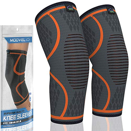 MODVEL 2 Pack Knee Compression Sleeve | Knee Brace for Men & Women | Knee Support for Running, Basketball, Weightlifting, Gym, Workout, Sports - PLEASE CHECK SIZING CHART