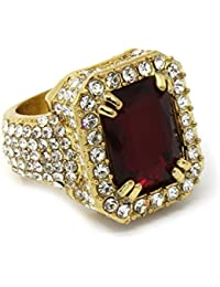 Men's 14k Gold Plated Hip Hop Iced Red Ruby Cz Ring Size Available 7 8 9 10 11 12