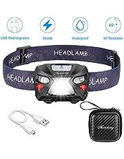 Mirviory USB Wiederaufladbare LED Stirnlampe Kopflampe,Eingebaute permanente Batterie,8 Leuchtmodi Wasserdicht stirnlampen Perfekt fürs Laufen,Angeln,Campen,für Kinder und mehr+Aufbewahrungskoffer