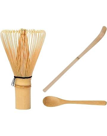 Pala de bambú para batir té matcha con mango largo y cuchara pequeña, herramientas para